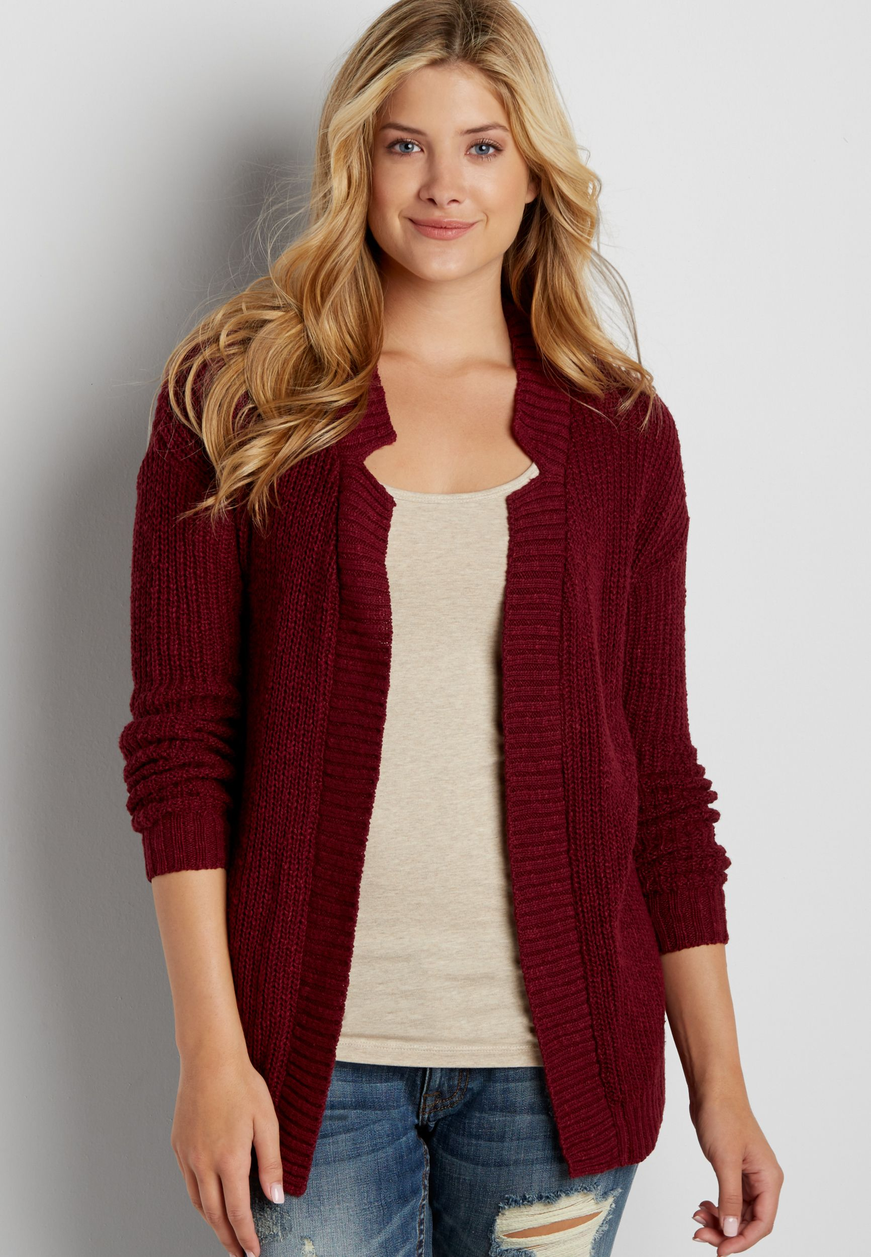 thick knit cardigan with ribbed hems (original price, $39.00) available at…