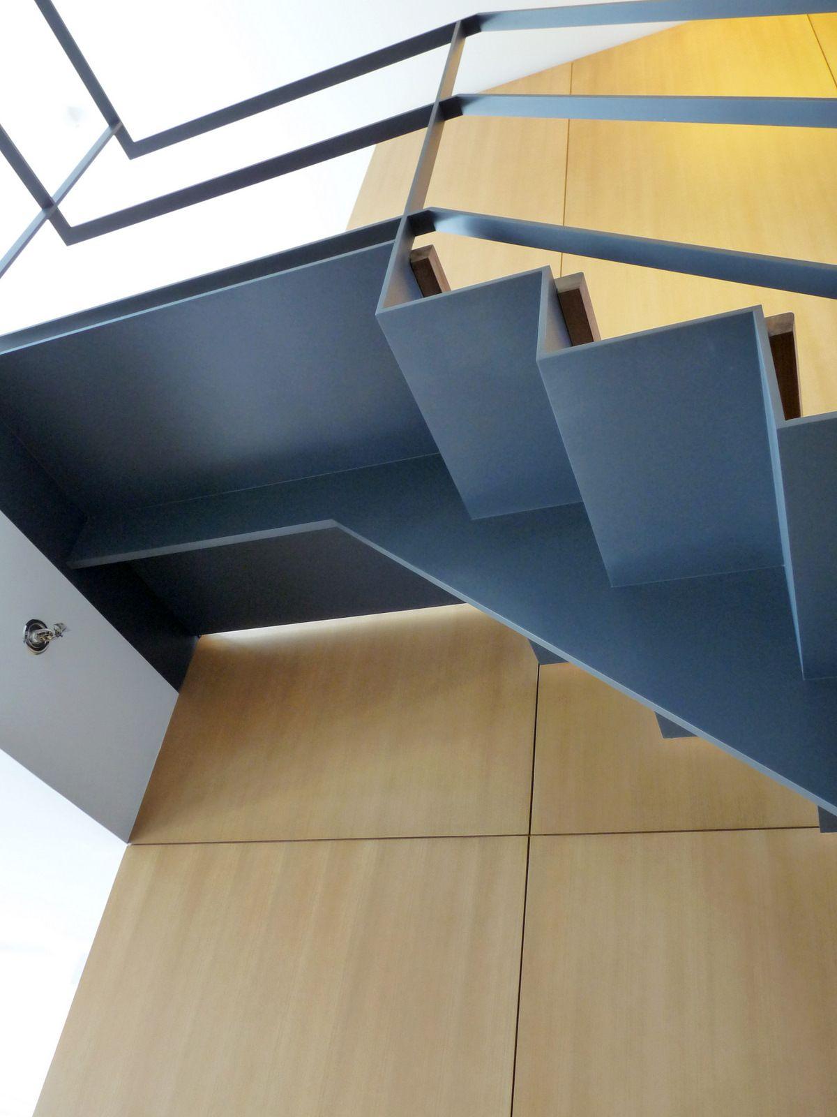 Folded Plate Stair Caliper Studio Steel Stairs Design Steel Stairs Stairway Design