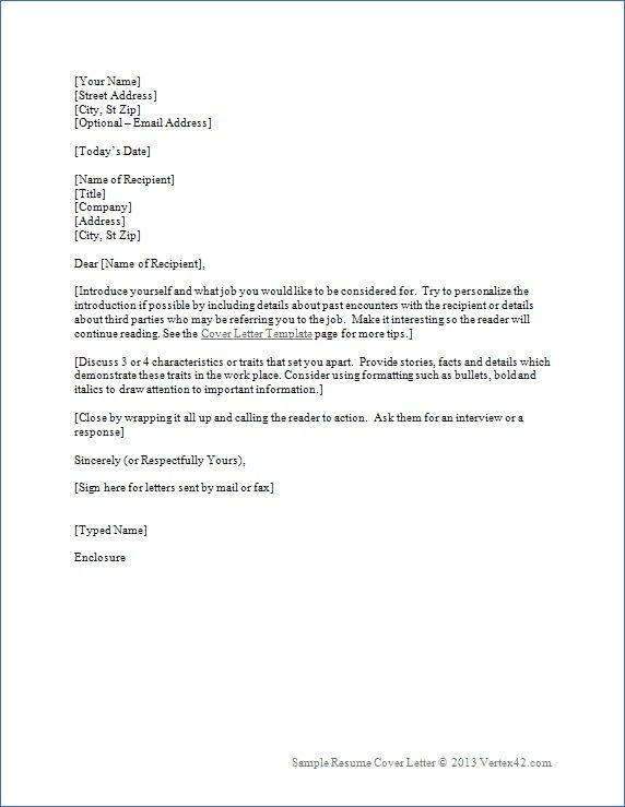 Resume Cover Letter Template Word   HttpTopresumeInfo