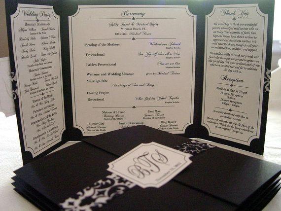The Katherine - Beautiful Custom Gate-fold Wedding Program **shown