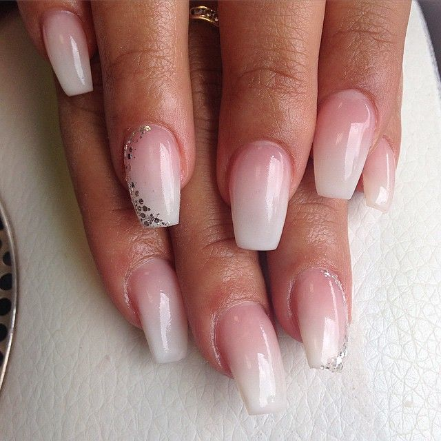 Ombre Shape Acrylic Nails Coffin Short French Tip Acrylic Nails Gel Nails French