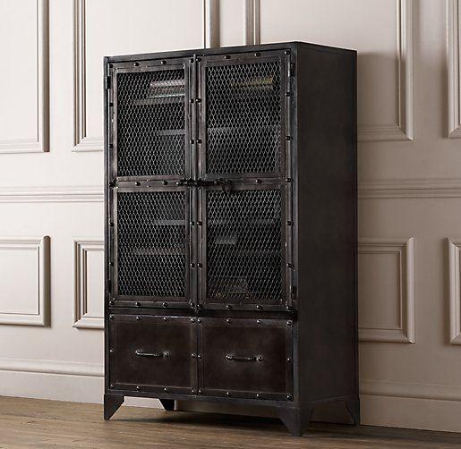 Vintage industrial steel cabinet bookcases storage restoration hardware baby child - Restoration hardware cabinets ...