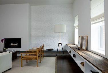 couleur peinture salon mur de briques blanc sol parquet wenge couleur salon mur brique et parquet. Black Bedroom Furniture Sets. Home Design Ideas