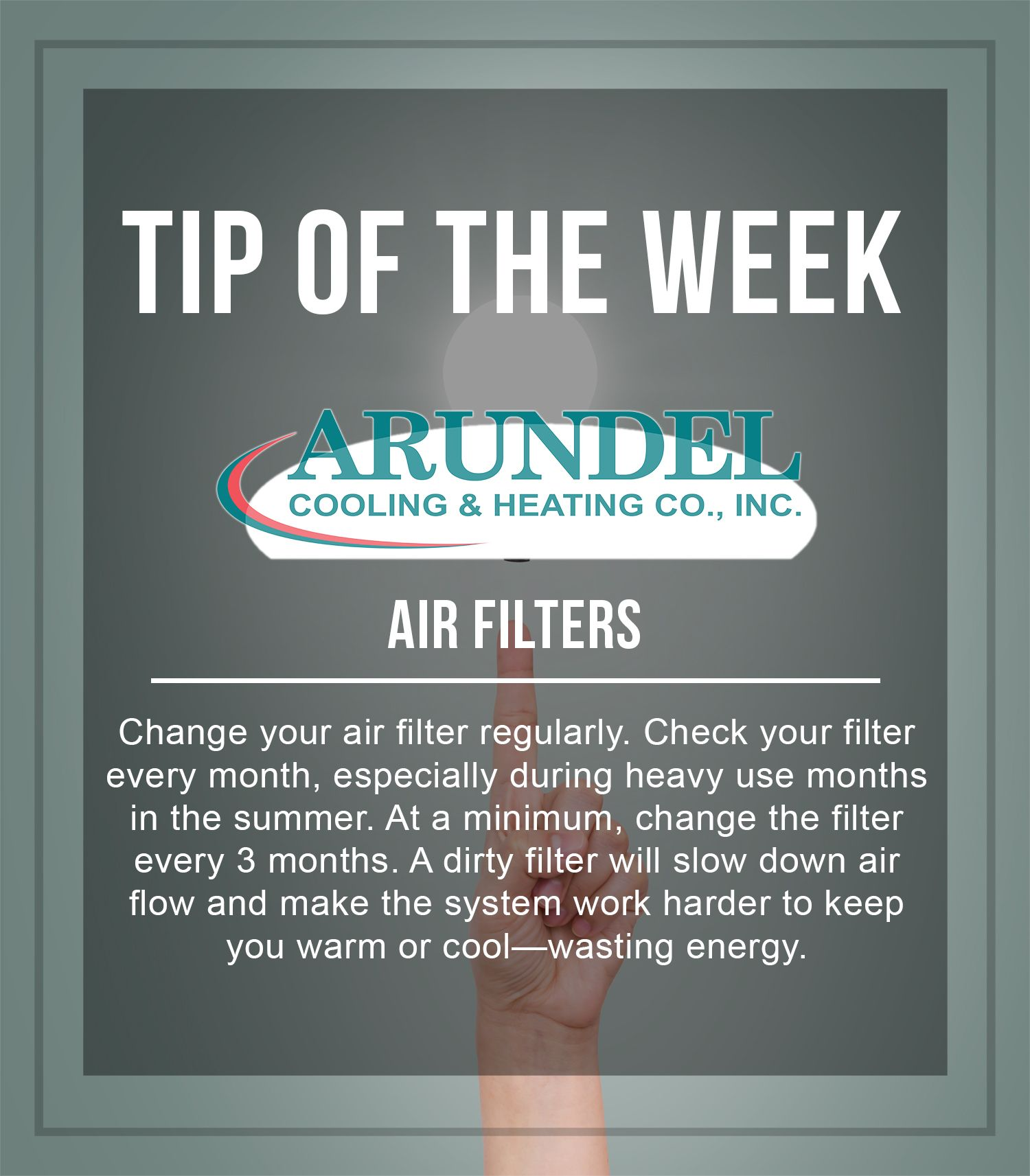 """Tip of the Week Air Filters Change your air filter"