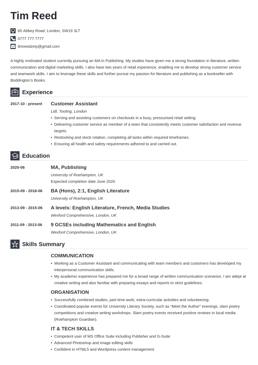 uk student cv example template iconic in 2020 Student cv