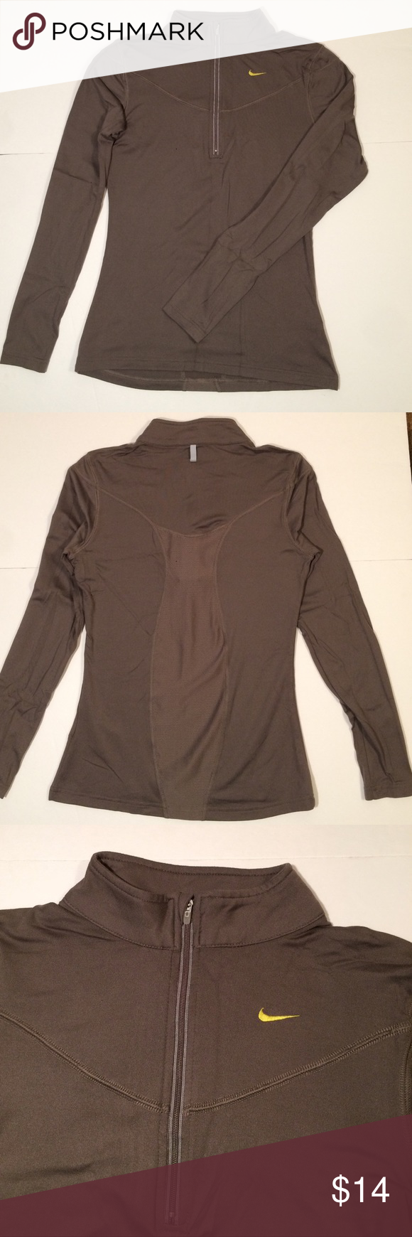"""Nike Long Sleeve Running Top This Nike top is in good condition. It has an embroidered yellow swoosh and a reflective lining around the zipper. This is a size small and measures approximately 15"""" from shoulder to shoulder and 23.5"""" from shoulder to bottom hem. Nike Tops Tees - Long Sleeve"""