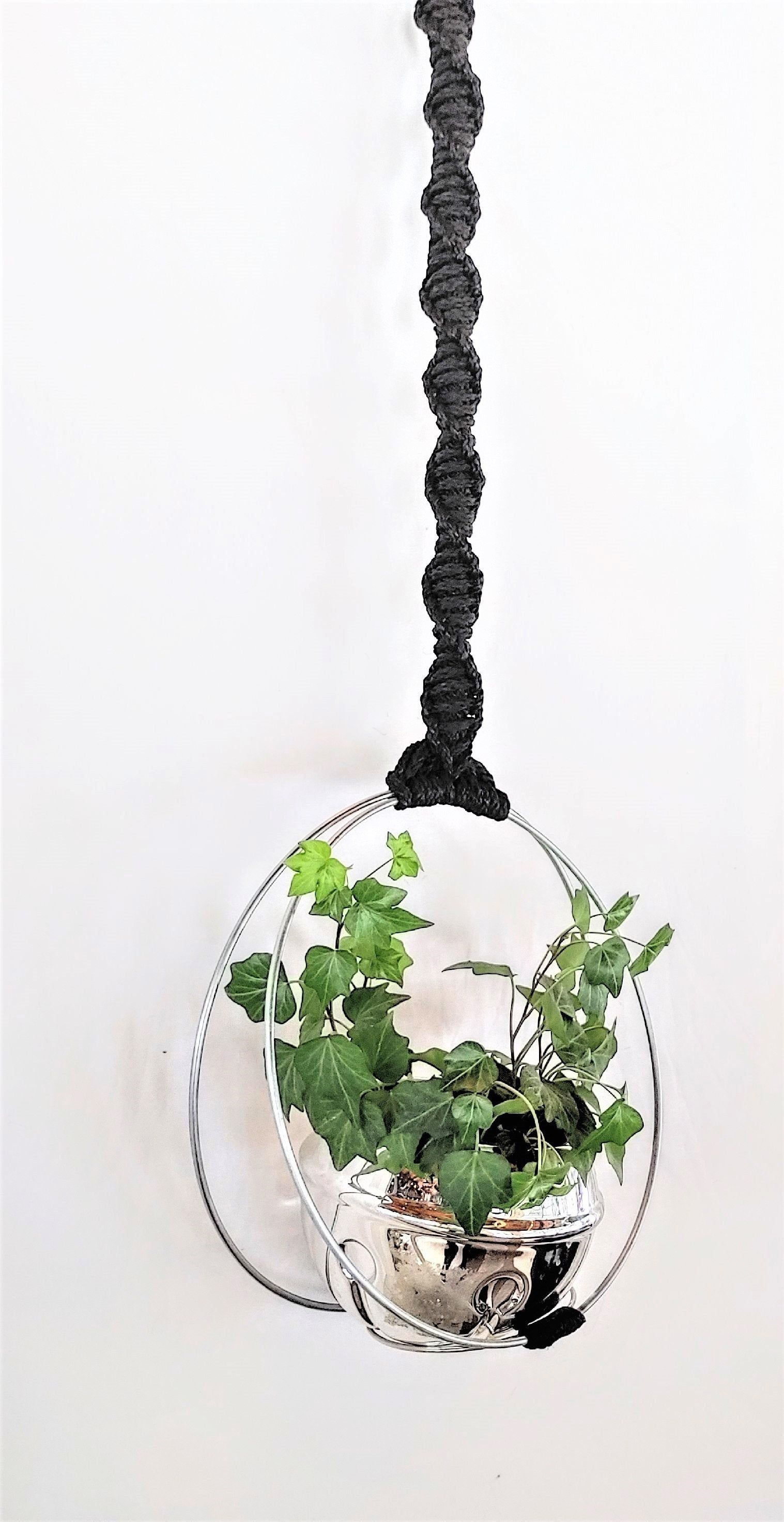 Minimalist Modern Macrame Unique Double Hoop Spiral Plant Hanger Gold Or Silver Hoops Other Colors Available In 2020 Flower Pot Hanger Plant Hanger Modern Macrame