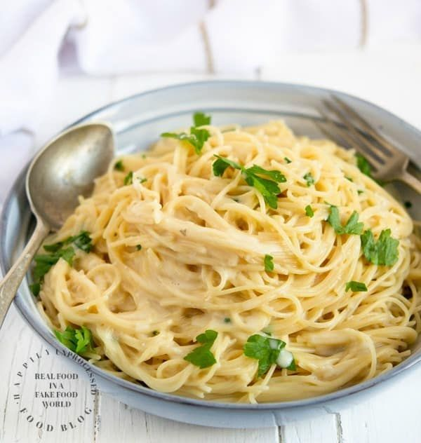 bowl of garlic parmesan noodles
