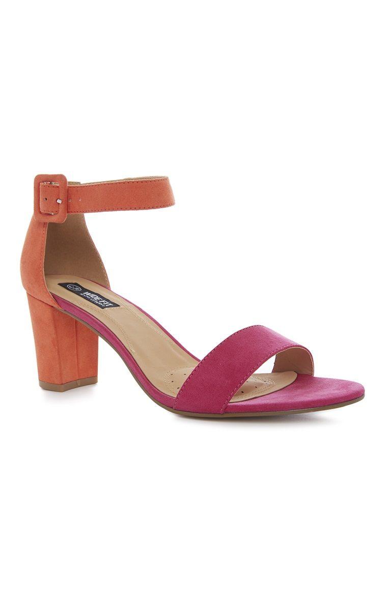 afb2d0c51fd Primark - Pink Orange Wide Fit Block Heel Sandal