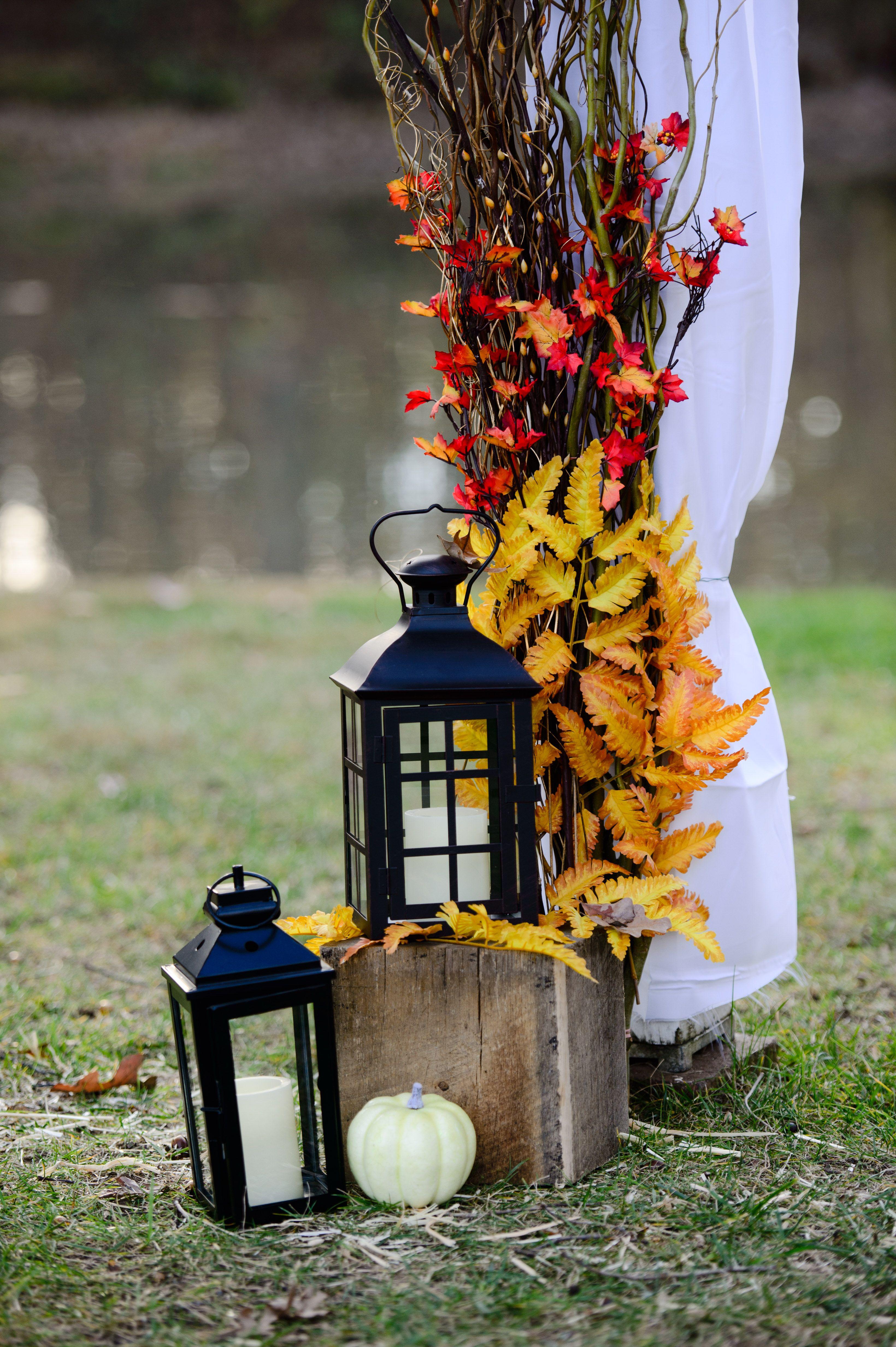 Wedding ideas with lanterns  fall wedding altar decor especially pumpkins lanterns  Wedding