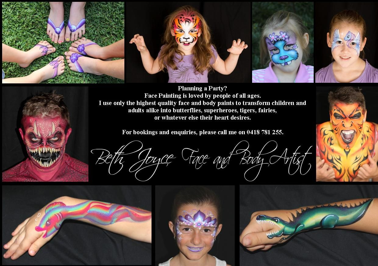 Pin on Face Painting by Beth Joyce Brisbane Face Painter