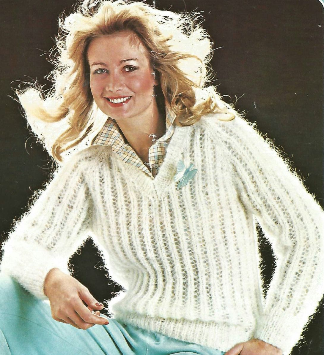 d1ae2ee5ccf44b Knitting Pattern Ladies Woman s V Neck Mohair Sweater Jumper Cable size  34-40in by makenshare on Etsy