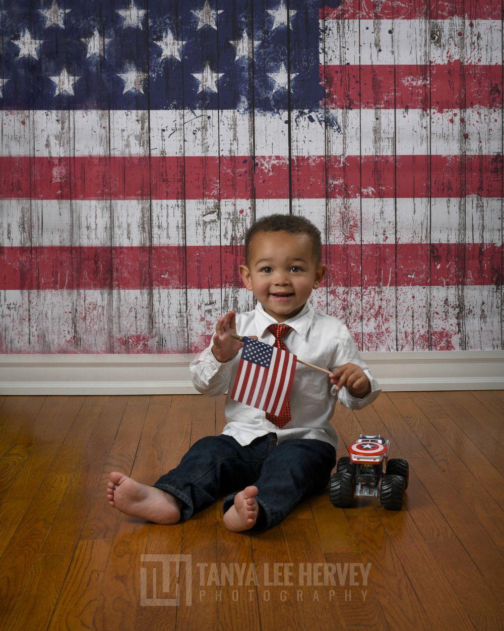 Vintage American Flag Planks Backdrop or Floor from Backdrop Express