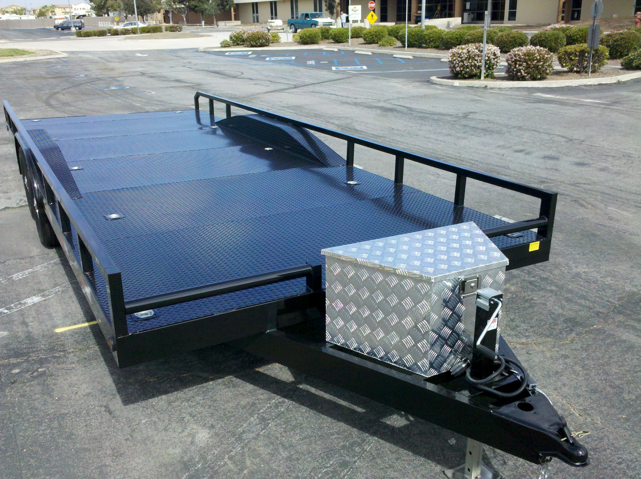 Trailer Fender Boxes : Custom flatbed trailer with bumper stop safety railing