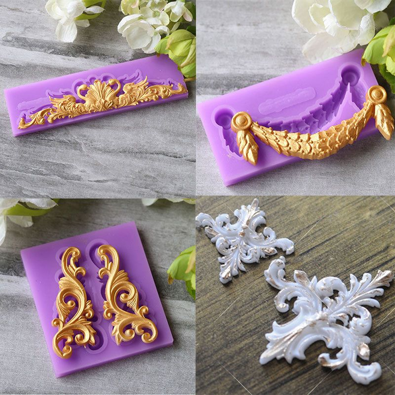 Gumpaste Fondant Cake Mold Antique Mirror Frame Silicone Mould Border Embossing