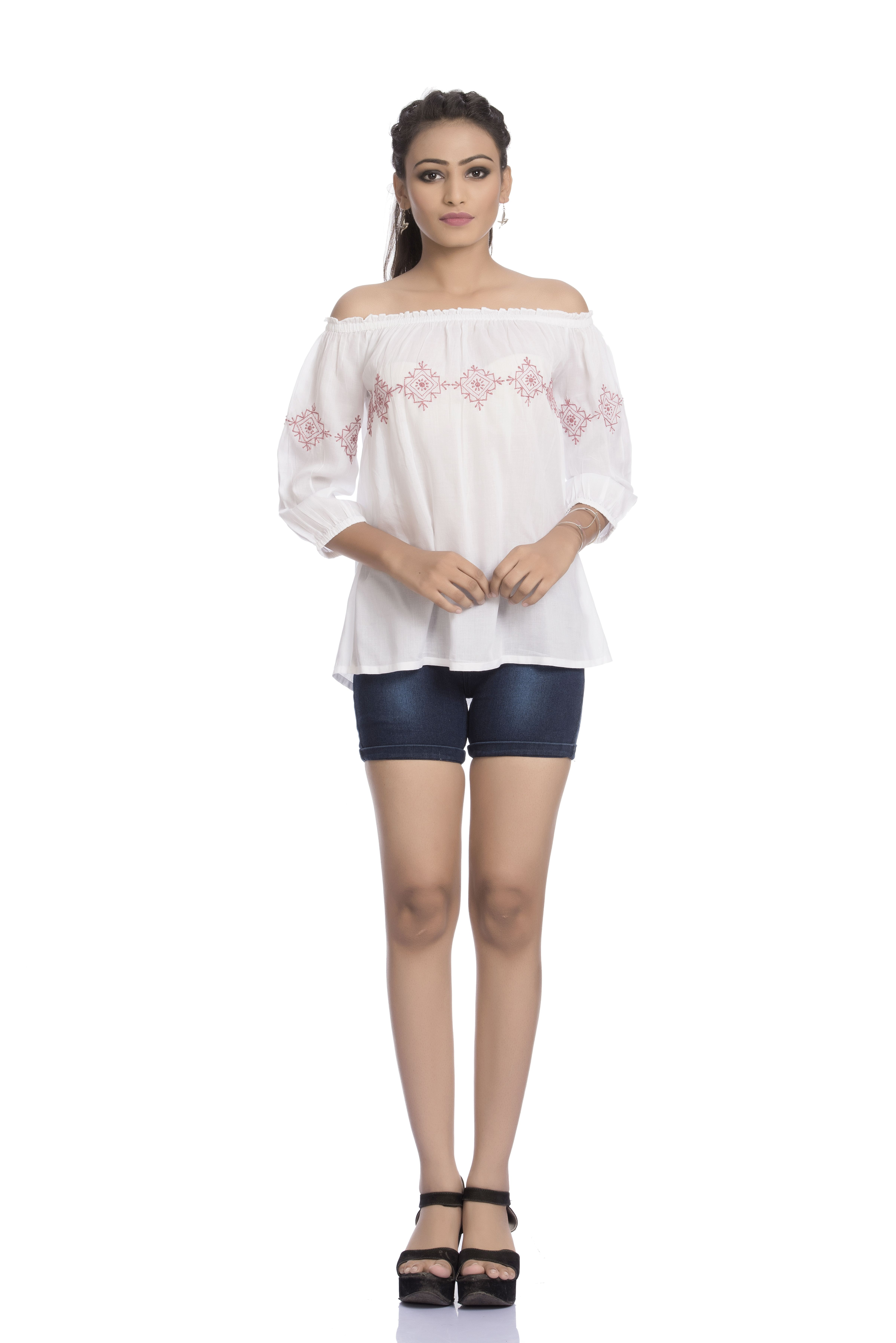 0688aa62c32 White off-shoulder lucknow chikan top with dusky pink thread chikankari  embroidery. Can be paired up with denims and chikan pallazo accesorised  with a ...