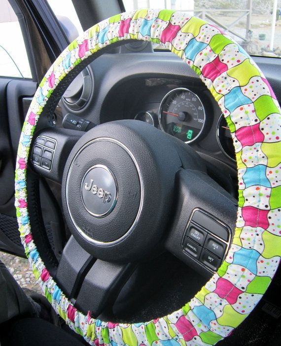 Bright Checkerboard Steering Wheel Cover on Etsy, $12.00