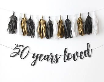 50th birthday banner 50 years loved glitter banner 50th birthday