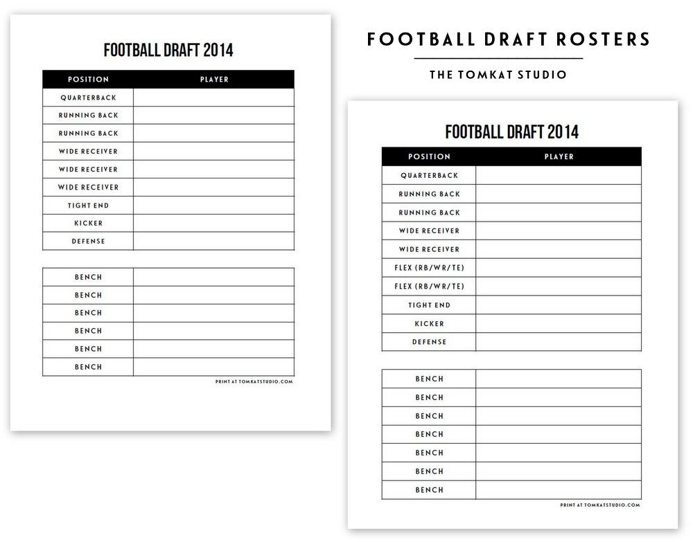 Free Printable Football Roster  Free Printable And Football Draft