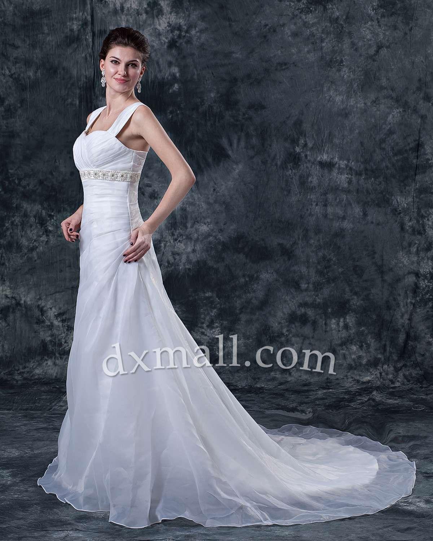 A-line Wedding Dresses Square  Chapel Train Satin Satin Ivory 01001010035