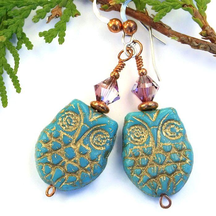 #Turquoise and Gold Czech Glass #Owl #Earrings, Purple Swarovski #Handmade Beaded Artisan #Jewelry @ShadowDog #ShadowDogDesigns #Indiemade - $25.00 - SOLD