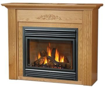 Oak Vent Free Gas Fireplace Mantel Package Vanguard
