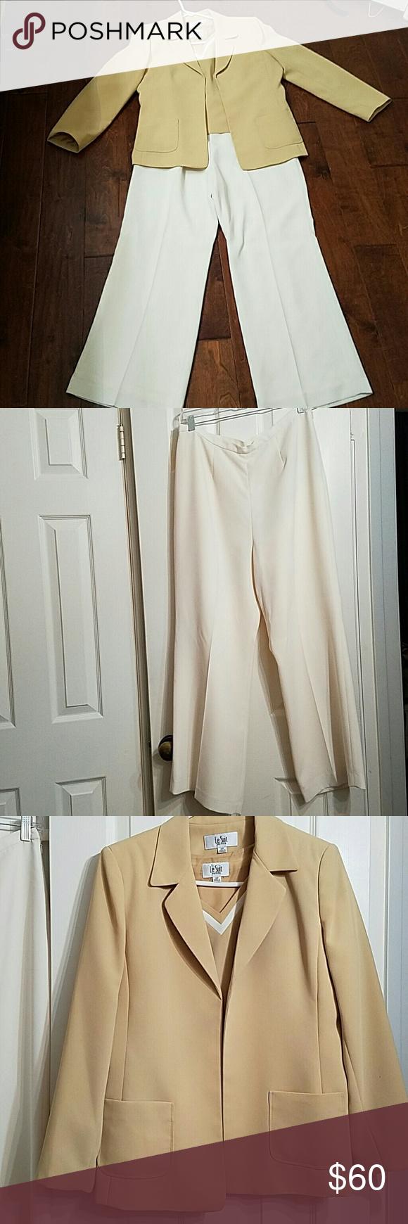 3 piece suit set Camel colored 3 piece suit. Sleeveless blouse. Blazer with lightly padded shoulders. Cream pants Le Suit Jackets & Coats Blazers