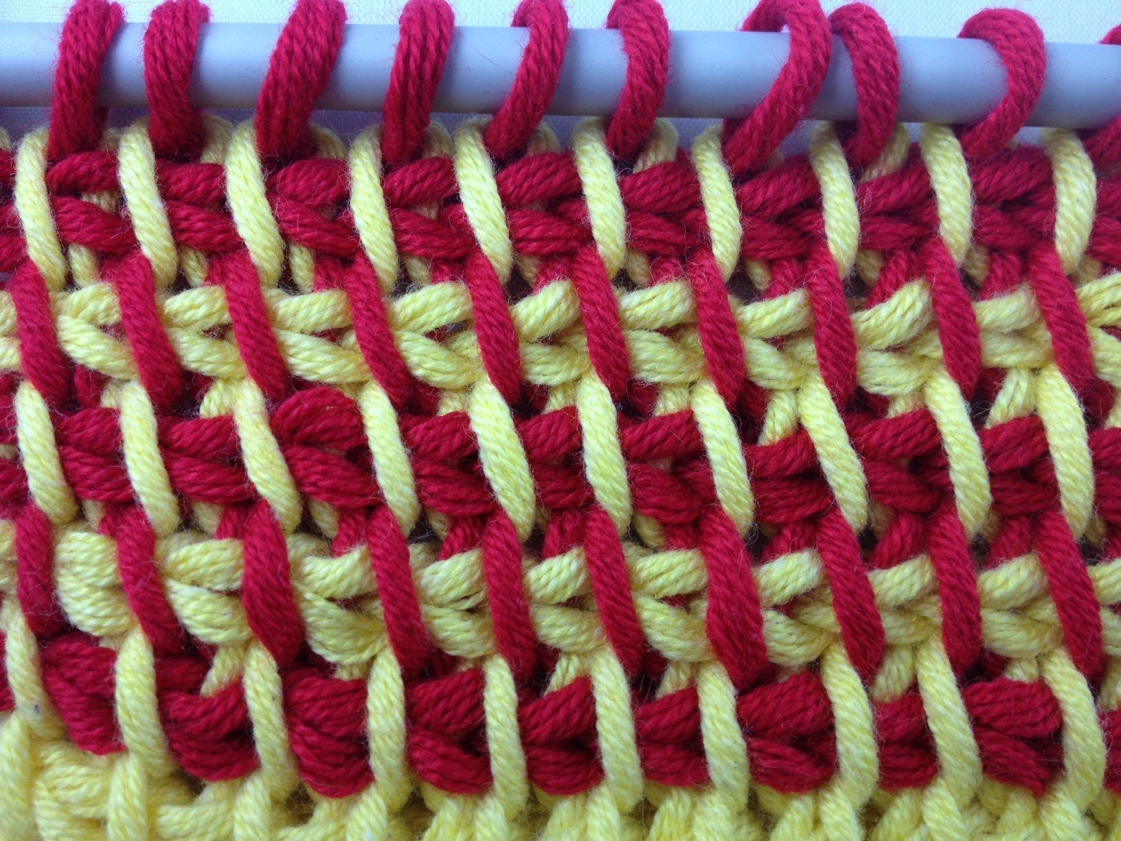 Tunesisch Häkeln - Grundmuster zweifarbig (Fischgrät) | Knitting ...