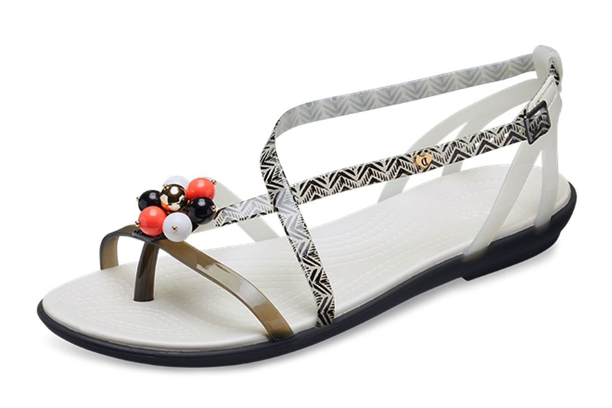 25e9824525cc Crocs x Drew Barrymore Isabella Graphic Black White Flat Comfort Sandals