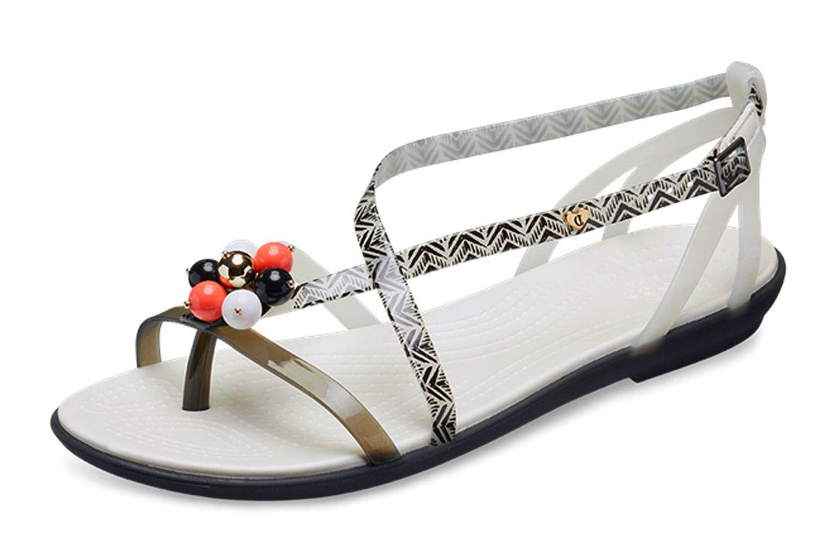 269d7e699c8 Crocs x Drew Barrymore Isabella Graphic Black White Flat Comfort Sandals  Cute Sandals