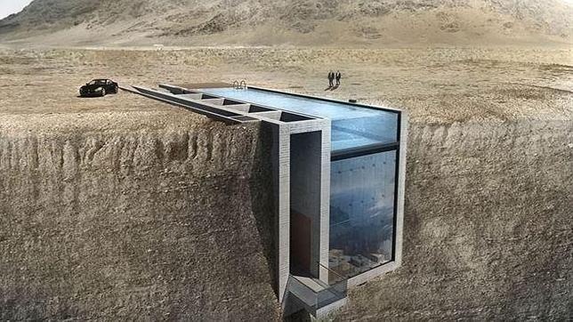 Así es la casa incrustada en un acantilado. Dos arquitectos griegos han creado este diseño llamado «Casa Brutale»