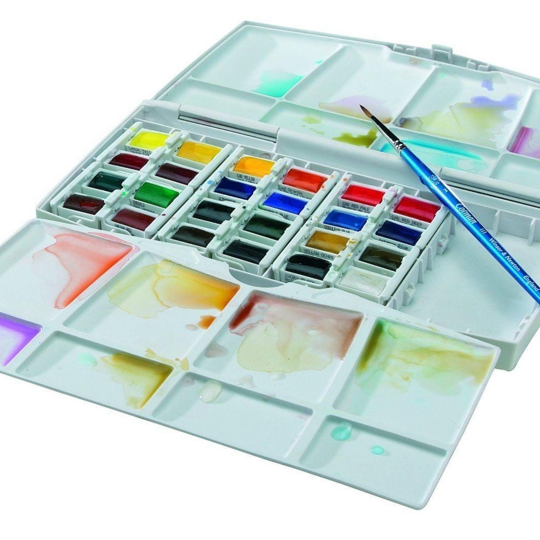 Winsor And Newton Cotman Watercolours Painting Plus 24 Half Pans
