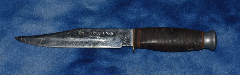 MARKED ORIGINAL BOWIE KNIFE LEATHER WRAPPED HANDLE