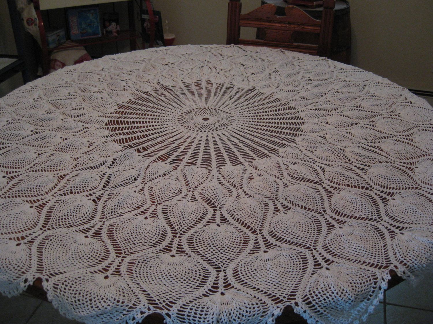 Round Tablecloth Pineapple Pattern Hand Crochet 62 by sewingnuck ...