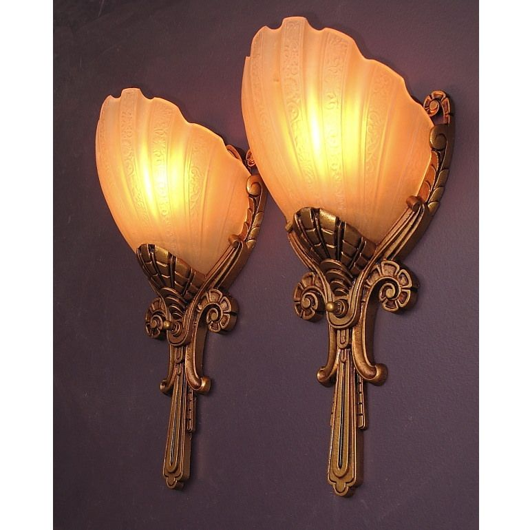 Regal Deco Slip Shad Wall Sconces Vintagelights Com Art Deco Wall Lights Art Deco Lamps Wall Deco