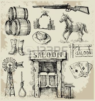 Saloon western dessin s la main wild west ensemble - Dessin saloon ...