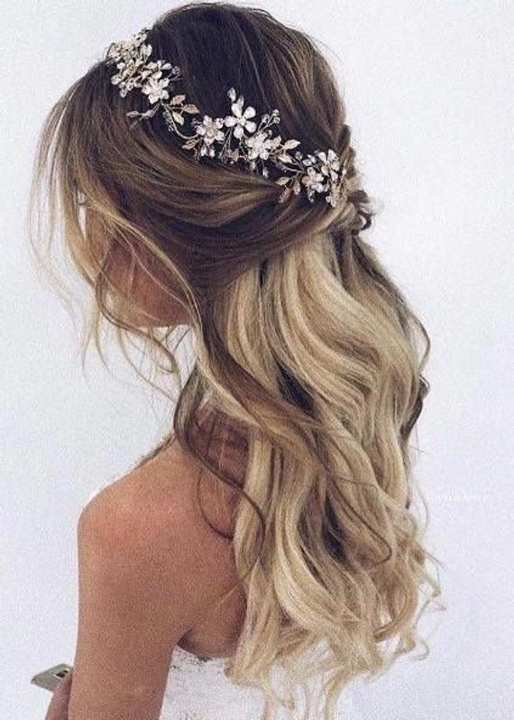 Bridal hair vine  Bridal hair piece Gold Bridal headpiece Bridal headband Wedding headband Wedding hair piece Wedding hair vine Floral