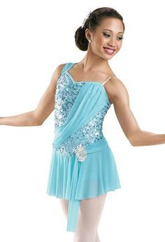 Kid Girls Lyrical Dance Dress Sequins Ballet Ballroom Dress Contemporary Costume