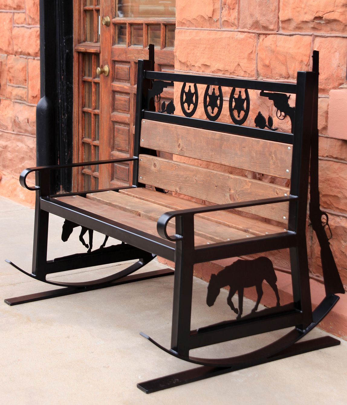 western style metal rocking bench you can make your own metal bench designs with a plasmacam. Black Bedroom Furniture Sets. Home Design Ideas