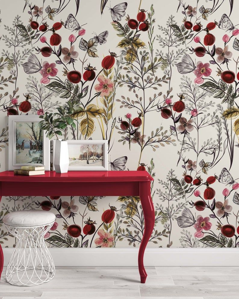 Vintage Style Floral Pattern Flowers Luxury Modern Wallpaper Self Adhesive Peel And Stick Wall Sticker Wall Decoration Removable In 2021 Floral Wallpaper Bedroom Modern Floral Wallpaper Modern Wallpaper