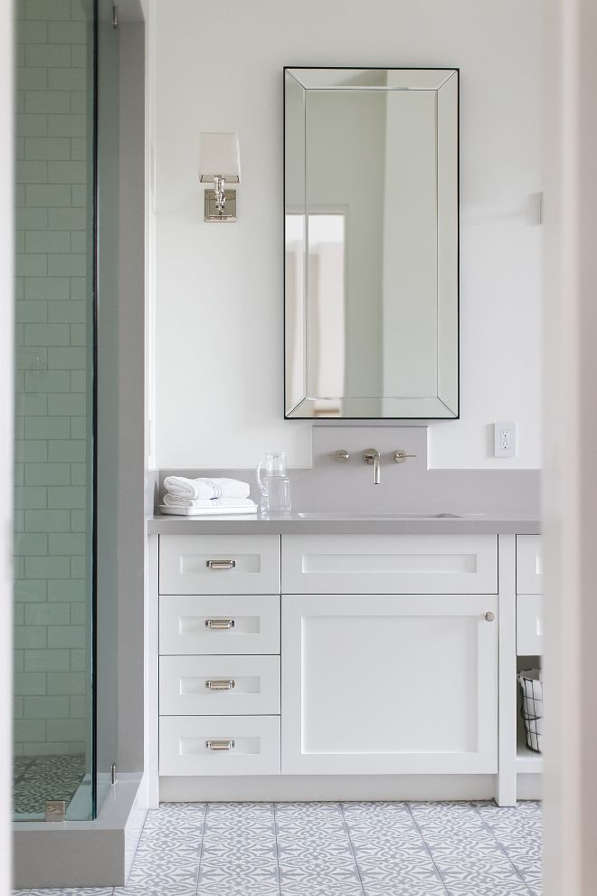 Restoration Hardware Bathroom Mirror Cabinet Paint Color Is Dunn Edwards Whisper Countertop Brushed