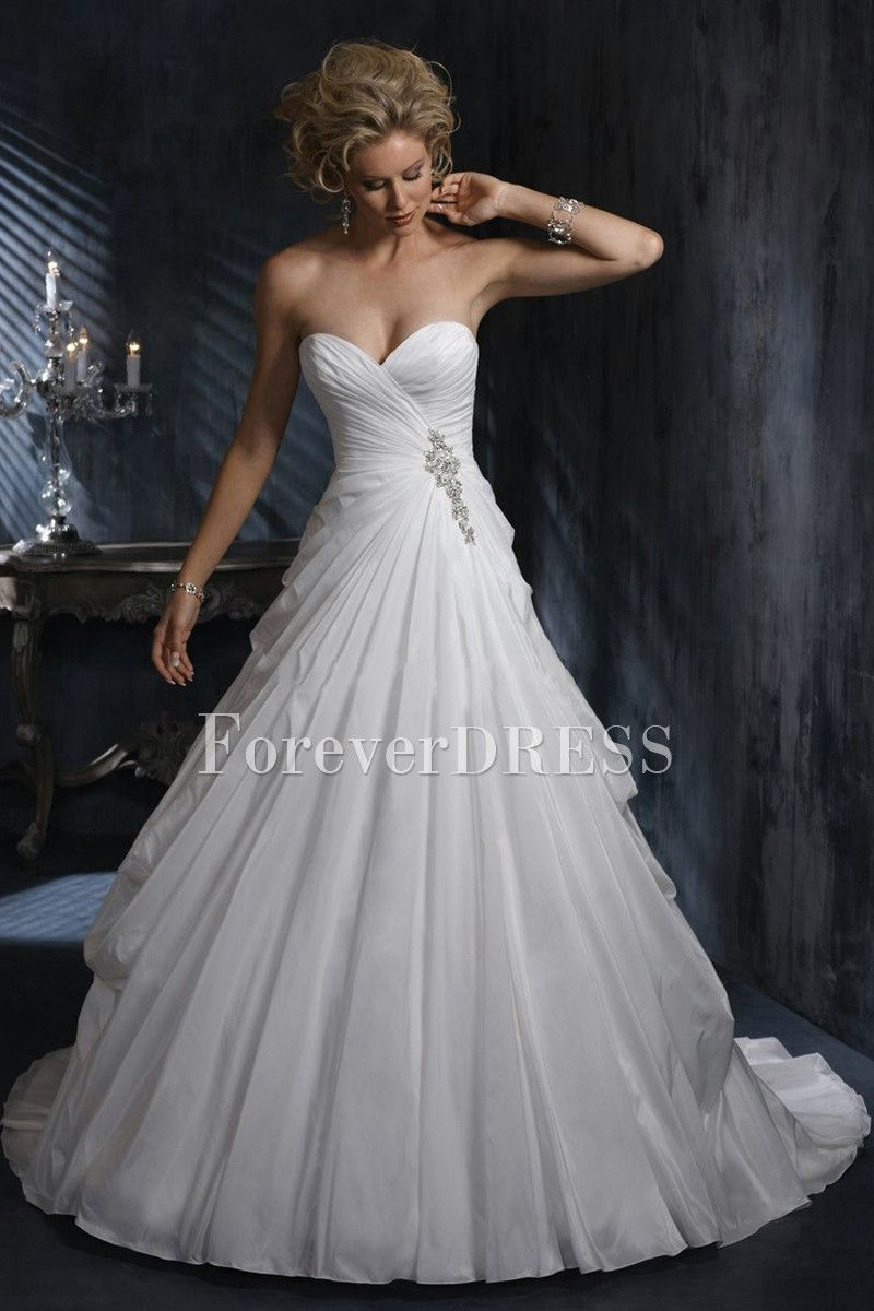 Ball Gown Wedding Dresses Sweetheart Beading Drape Court Train
