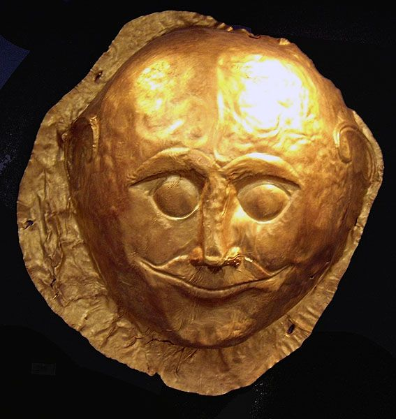 Gold Mask from Grave 4 in Grave Circle A at Mycenae.