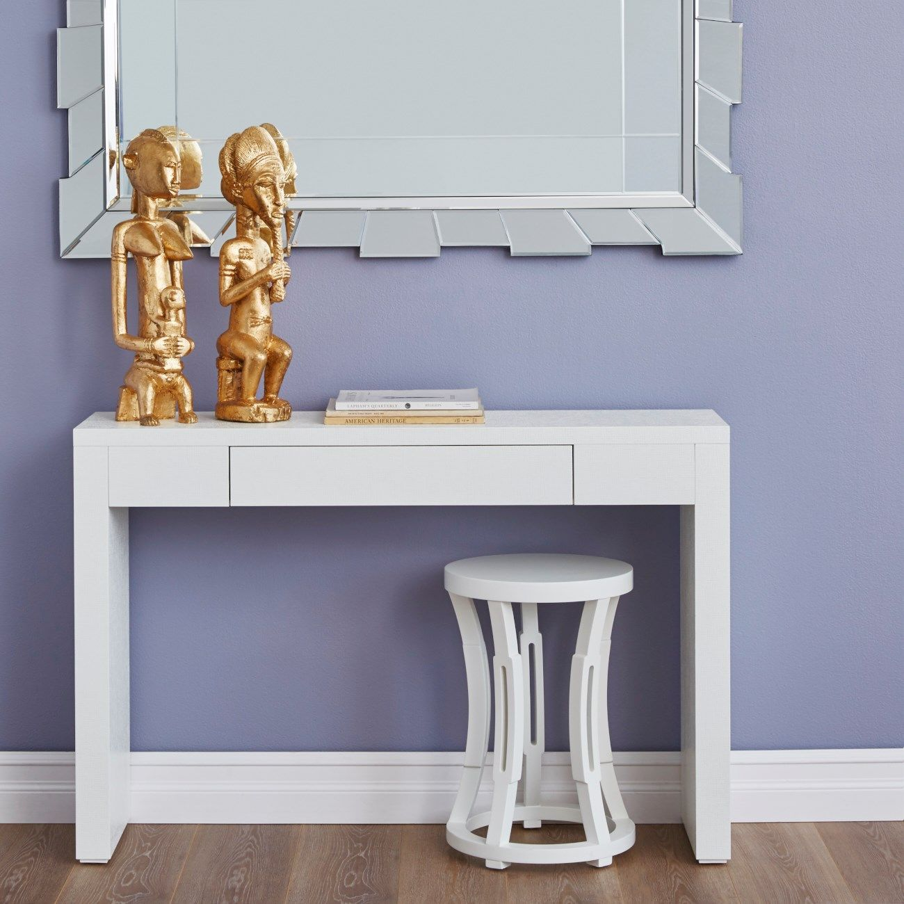 Morgan Grasscloth Console Table White Bungalow 5 With Images