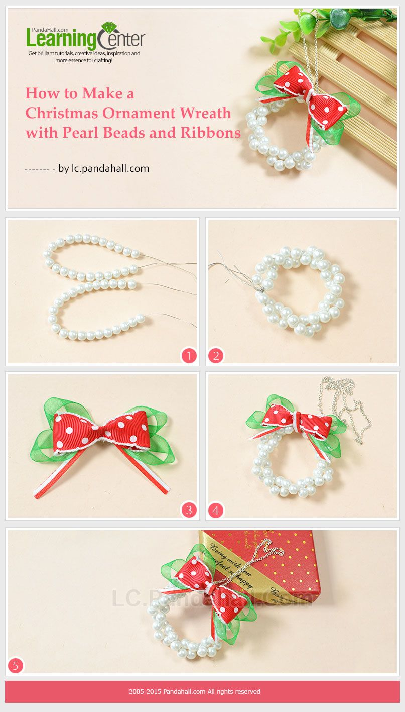 How To Make A Christmas Ornament Wreath With Pearl Beads And Ribbons Christmas Ornament Crafts Christmas Bead Ornament Crafts