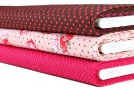 Stenzo stoffenpakket Jipshop Roze en bruin met bloemen en stippen | Najaarscollectie 2012