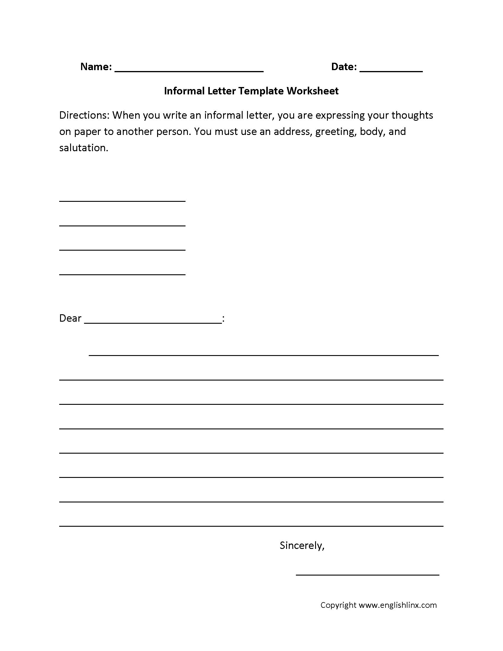 Informal Letter Writing Worksheets   Letter writing worksheets [ 2200 x 1700 Pixel ]