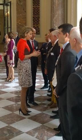 Queen Mathilde Belgische topatleten die in 2013 en 2014 verdienstelijk presteerden worden ontvangen op het Kasteel te Laken
