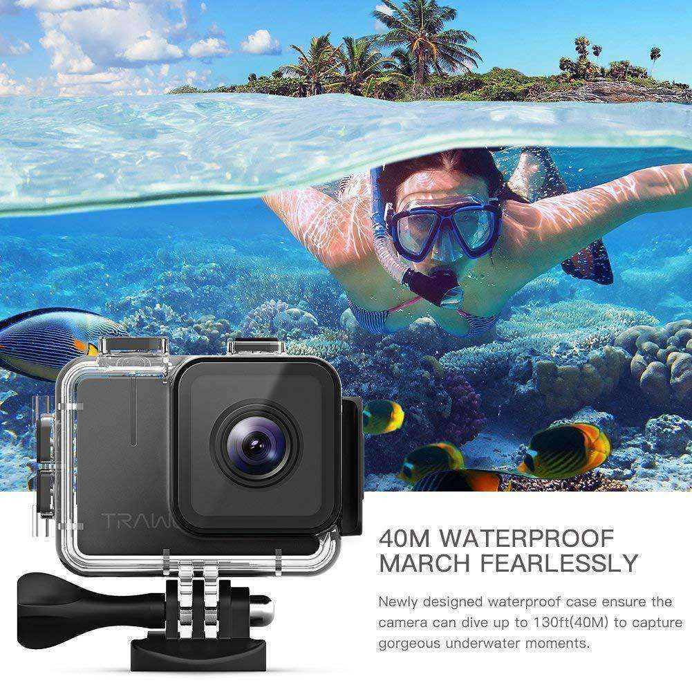 [shortdesc] Image Resolution 20MP / 16MP / 12MP / 5MP Video Resolution 4K/30fps Time Lapse Yes Burst Yes Timer Shooting Yes Waterproof 40mVideo Stabilisation Video Stabilisation Advanced Wifi Yes [/shortdesc] APEMAN Trawo Action Camera 4K WiFi Ultra HD 20MP Underwater Waterproof 40M Camcorder with 170 Degree Ultra-Wide Angle Advanced Sensor EIS Stabilization Dual 1350 mAh Batteries. 4K/20MP & 7-Layer Glass Lens: This Action Camera delivers 4K/30fps, 2.7K/30fps, 1440P/60fps, 1080P/60fps videos an