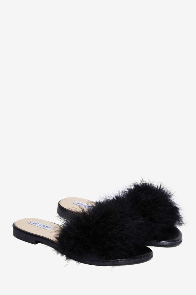 ac87fd141f044 Valley Girl Feather Slide Sandal - Black - Shoes   Flats   Sandals ...